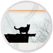 Cat On A Tin Roof 2 Round Beach Towel