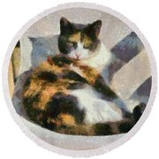 Cat On Chair Round Beach Towel