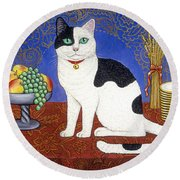 Cat On Thanksgiving Table Round Beach Towel
