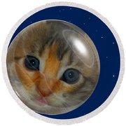 Cat Planet Round Beach Towel