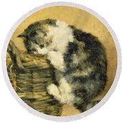 Cat With A Basket Round Beach Towel