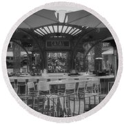 Catal Outdoor Cafe Downtown Disneyland Bw Round Beach Towel