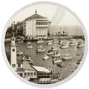 Catalina Island. Avalon Round Beach Towel