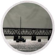 Catamaran Anchored At Old Bahia Honda Bridge Round Beach Towel