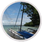 Catamaran On The Beach Round Beach Towel