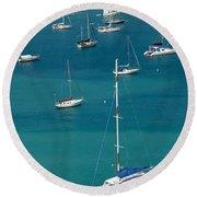 Catamaran  St Thomas Usvi Round Beach Towel