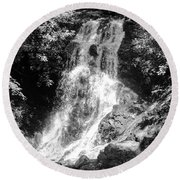 Cataract Falls Smoky Mountains Bw Round Beach Towel
