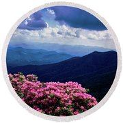 Catawba Rhododendron In Bloom, Yellow Round Beach Towel