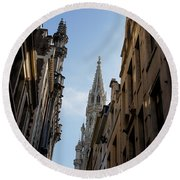 Catching A Glimpse Of Grand Place Brussels Belgium Round Beach Towel
