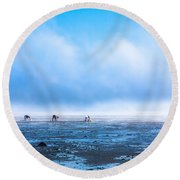 Catching Blue Round Beach Towel