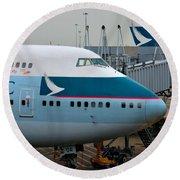 Cathay Pacific 747 Jumbo Jet Parked At Hong Kong Airport Round Beach Towel