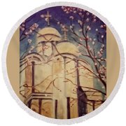 Cathedral At Springtime Round Beach Towel