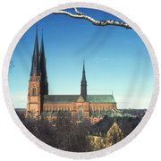 Cathedral At Uppsala Round Beach Towel