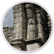 Cathedral Broken Arch At Glendalough Round Beach Towel