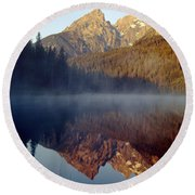 4m9304-cathedral Group Reflection, Tetons, Wy Round Beach Towel