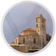 Cathedral In Ibiza Town Round Beach Towel