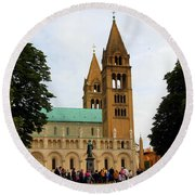 Cathedral In Pecs Round Beach Towel