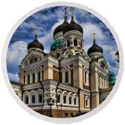 Cathedral In Tallinn Round Beach Towel by David Smith