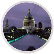 Cathedral Lit Up At Night, St. Pauls Round Beach Towel