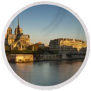 Cathedral Notre Dame - Sunrise Round Beach Towel