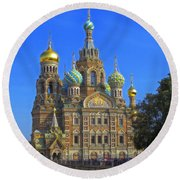 Cathedral Of Christ's Resurrection On Spilled Blood Round Beach Towel