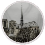 Cathedral Of Notre Dame De Paris Round Beach Towel by Marco Oliveira