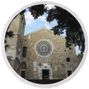 Cathedral Of San Giusto Round Beach Towel