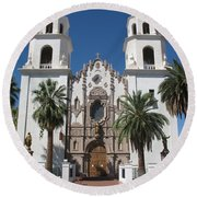 Cathedral Of St. Augustine Tuscon Round Beach Towel
