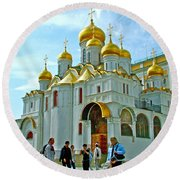 Cathedral Of The Annunciation Inside Kremlin Walls In Moscow-russia Round Beach Towel