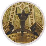 Cathedral Of The Immaculate Conception Detail - Mobile Alabama Round Beach Towel
