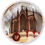 Cathedral Organ Round Beach Towel