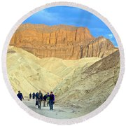 Cathedral Peaks From Golden Canyon In Death Valley National Park-california Round Beach Towel