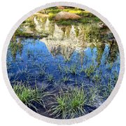 Cathedral Reflection Round Beach Towel