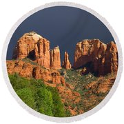 Cathedral Rock Before The Storm Round Beach Towel