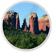 Cathedral Rock Behind The Forest Round Beach Towel