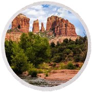 Cathedral Rock Round Beach Towel by Fred Larson