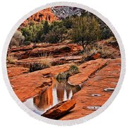 Cathedral Rock In Winter Round Beach Towel