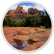 Cathedral Rock Reflections Round Beach Towel