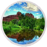 Cathedral Rocks At Red Rock Crossing Round Beach Towel