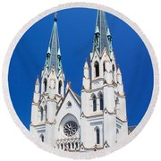 Cathedral, Savannah, Georgia Round Beach Towel