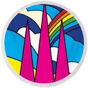 Cathedral Spires Stained Glass Lichfield Round Beach Towel