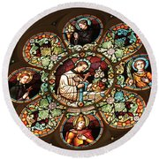 Cathedral Stained Glass Round Beach Towel
