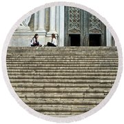 Cathedral Steps Girona Spain Round Beach Towel