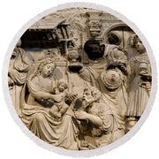 Cathedral Wall Nativity Sculpture Round Beach Towel