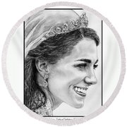 Catherine - Duchess Of Cambridge In 2011 Round Beach Towel by J McCombie
