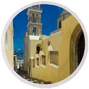 Catholic Cathedral Santorini Round Beach Towel