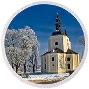 Catholic Church In Town Of Krizevci Round Beach Towel