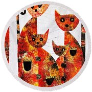 Cats 727 Round Beach Towel