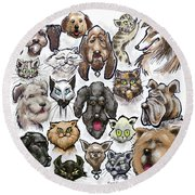 Cats And Dogs Round Beach Towel