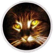 Cat's Eyes - Fractal Round Beach Towel